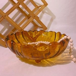 Vintage Amber Glass Footed Bowl